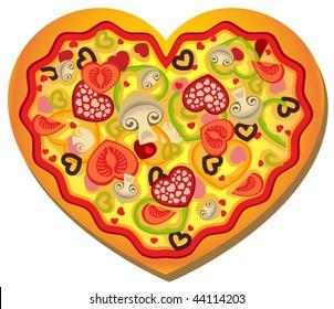 Vector Heart-Shaped Pizza