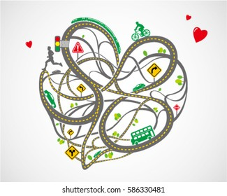 vector of heart-shaped traffic map