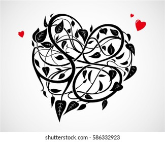 vector of heart-shaped vines background