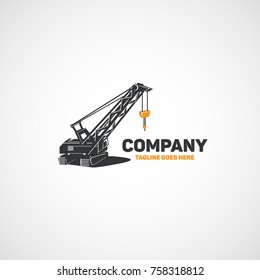 Vector heavy equipment, construction crawler crane.
