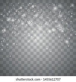 Vector heavy snowfall, snowflakes in different shapes and forms.  Isolated on transparent background. Illustration for Happy New Year Design. Isolated Snowflakes Backgrou