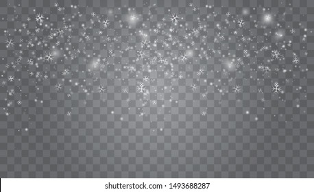 Vector heavy snowfall, snowflakes in different shapes and forms. Snow flakes, snow background. Falling Christmas Shining transparent beautiful, little snow
