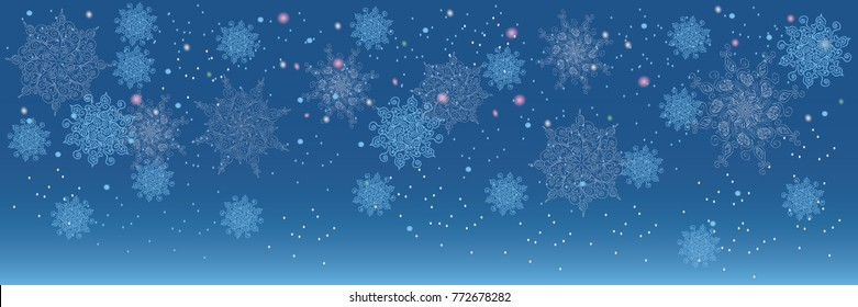 Vector heavy snowfall, snowflakes in different shapes and forms.