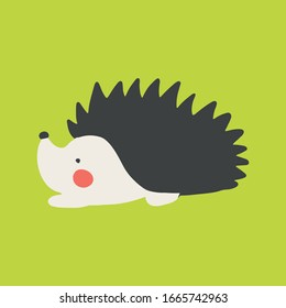Vector hedgehog. Cute hand drawn cartoon animal. Flat element for you design, perfect for card, sticker, poster, packaging, t short print or baby cloth.