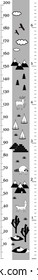 Vector height chart in minimalistic scandinavian style. Meter Wall or Height Meter, centimeter and Inch Scale. Black and white