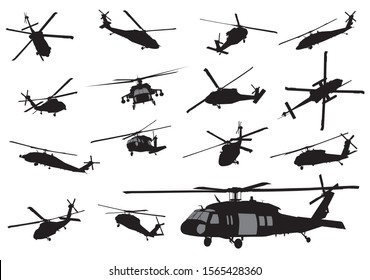 Vector helicopter detailed silhouettes collection