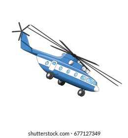 Vector helicopter illustration on a white background