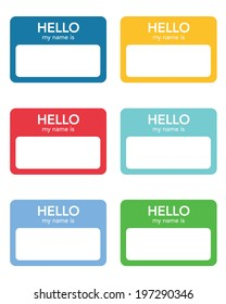 """Vector """"Hello My Name Is..."""" Name Tag Set"""