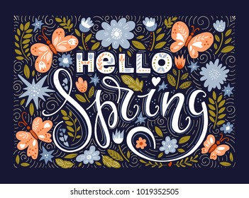 Vector Hello Spring Flowers Butterflies Text Background