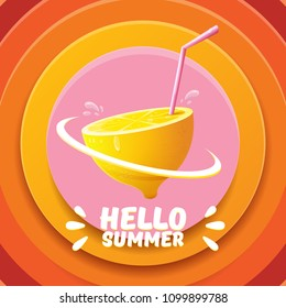 Vector Hello Summer Beach Party Flyer Design template with fresh lemon isolated on abstract circle orange background. Hello summer concept label or poster with orange fruit and typographic text.
