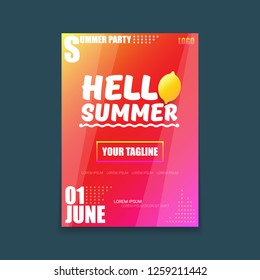 Vector Hello Summer Beach Party vertical A4 poster Design template or mock up with fresh lemon on red modern style gradient background. Hello summer concept label or flyer