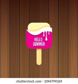 vector hello summer vector concept illustration with melt pink ice cream on wooden background. Start of summer background