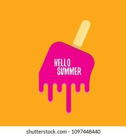 vector hello summer vector concept illustration with melt pink ice cream on orange background. Start of summer background