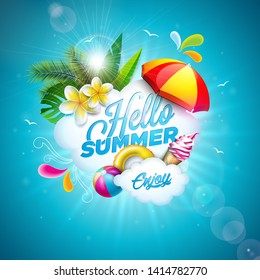 Vector Hello Summer Holiday Illustration with Flower and Beach Ball on Ocean Blue Background. Tropical Plants, Float, Palm Leaves, Ice Cream and Sunshade for Banner, Flyer, Invitation, Brochure