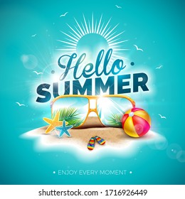 Vector Hello Summer Holiday Illustration with Typography Letter and Sunglasses on Ocean Blue Background. Tropical Plants and Beach Ball on Paradise Island for Banner, Flyer, Invitation, Brochure