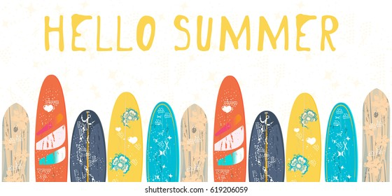 Vector Hello Summer poster background.  Flat horizontal banner. Wind surfing boards. Vector illustration