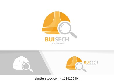 Vector helmet and loupe logo combination. Hat and magnifying symbol or icon. Unique safety and search logotype design template.