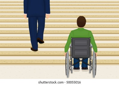 Vector Helpless in a wheelchair. EPS AI8, all elements labeled and grouped.