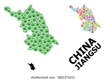 Vector hemp mosaic and solid Map of Jiangsu Province. Map of Jiangsu Province vector mosaic for drug legalize campaign. Map of Jiangsu Province is composed with green and bright hemp leaves.