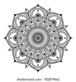 Vector henna mandalas style decoration, hand drawn round decorative ornament. Symbol Yin yang in circle of mandala. Fashion motif can be used to print on the phone, tattoo, for paper, textile, clothes