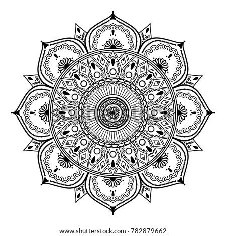 Vector Henna Mandalas Style Decoration Hand Stock Vector Royalty