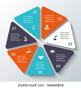 Vector heptagon for infographic. Template for cycle diagram, graph, presentation and round chart. Business concept with options, parts, steps or processes. Abstract background.