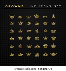 Vector heraldic elements design. Set of golden line crowns