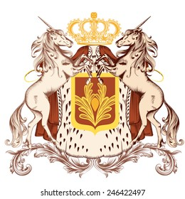 Vector heraldic illustration in vintage style with shield, unicorns and crown