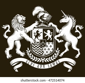 Vector heraldic illustration in vintage style with shield, crown,unicorn and lion for design