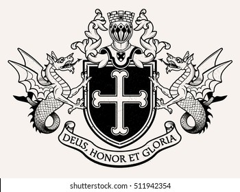 Vector heraldic illustration in vintage style with shield, crown, wyvern and knight helmet for design