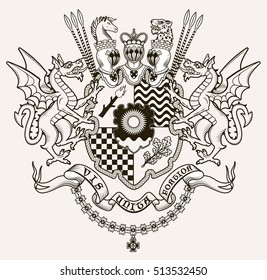 Vector heraldic illustration in vintage style with shield, crown, dragons and knight helmets for design.