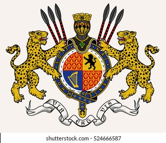 Vector heraldic illustration in vintage style with shield, crown, leopards and knight helmet for design