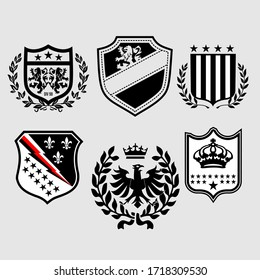 Vector heraldic set of illustration in vintage style with shield, crown, different beasts and knight helmet for design