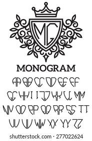 Vector heraldic template monogram with the bilateral alphabet
