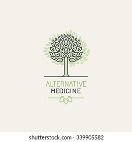 Vector herbal and alternative medicine logo design template in trendy linear style - holistic therapy concept - growing tree illustration