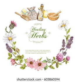 Vector herbal cosmetics wreath banner on white background. With place for text
