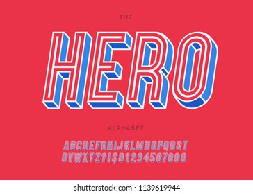 Vector hero slanted alphabet colorful style for decoration, logo, party poster, t shirt, book, greeting card, sale banner, printing on fabric, stamp. Cool typography typeface. Modern 3d font. 10 eps
