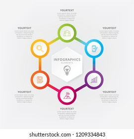 Vector hexagon chart template. Vector illustration infographics six options. Vector elements for infographic, Business process, Presentation, Hexagon graphic elements