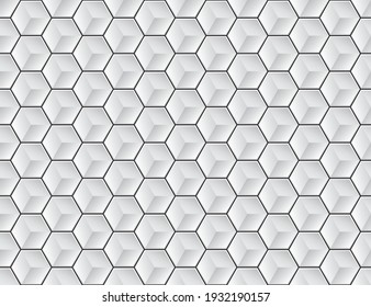 Vector hexagon geometric seamless 3D white texture.