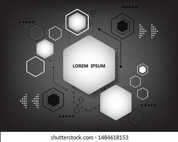 vector hexagon geometric shape.black wallpaper template.