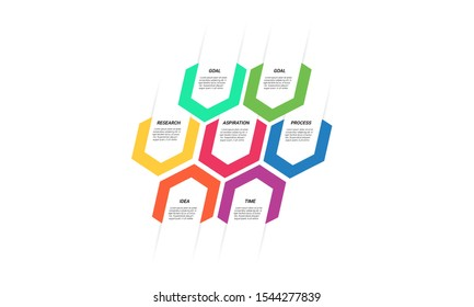 Vector hexagon Infographic stack chart design with icons and 6 options or steps. for business concept. Can be used for presentations banner, workflow layout, process diagram, flow chart,