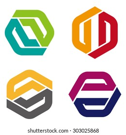 """Vector hexagon logo template. Colorful design icon set. """"P"""",""""Z"""", """"N"""", """"D"""", """"G"""", """"S"""" letters icon set. You can use in the financial, industrial, screws, building and communication concept of pattern."""