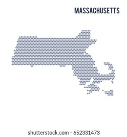 Vector hexagon map of State of Massachusetts . Business space illustration of the state .