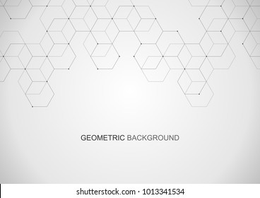 Vector hexagonal background. Digital geometric abstraction with lines and dots. Geometric abstract design. Linear background