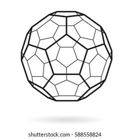 Vector hexagonal grid buckyball (fullerene) sphere.