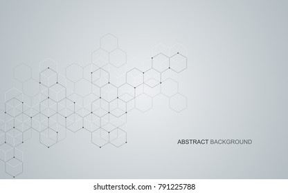 Vector hexagons background. Digital geometric abstraction with lines and dots. Geometric abstract design