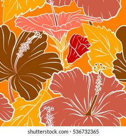 Vector hibiscus pattern. Multicolored floral seamless pattern with hibiscus flowers, watercolor hand drawing style on orange background. Design for invitation, wedding or greeting cards.