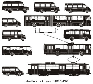 Vector hi-detailed public transport silhouettes. More vector transportation illustrations see in my portfolio