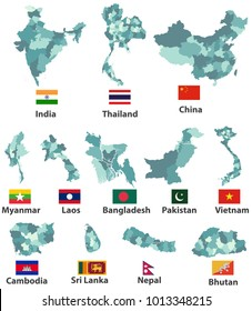 vector high detailed maps and flags of east asian countries with administrative divisions (regions borders)