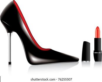 vector high heel shoe and a lipstick